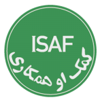 Green circle with ISAF written in English and Dari Language